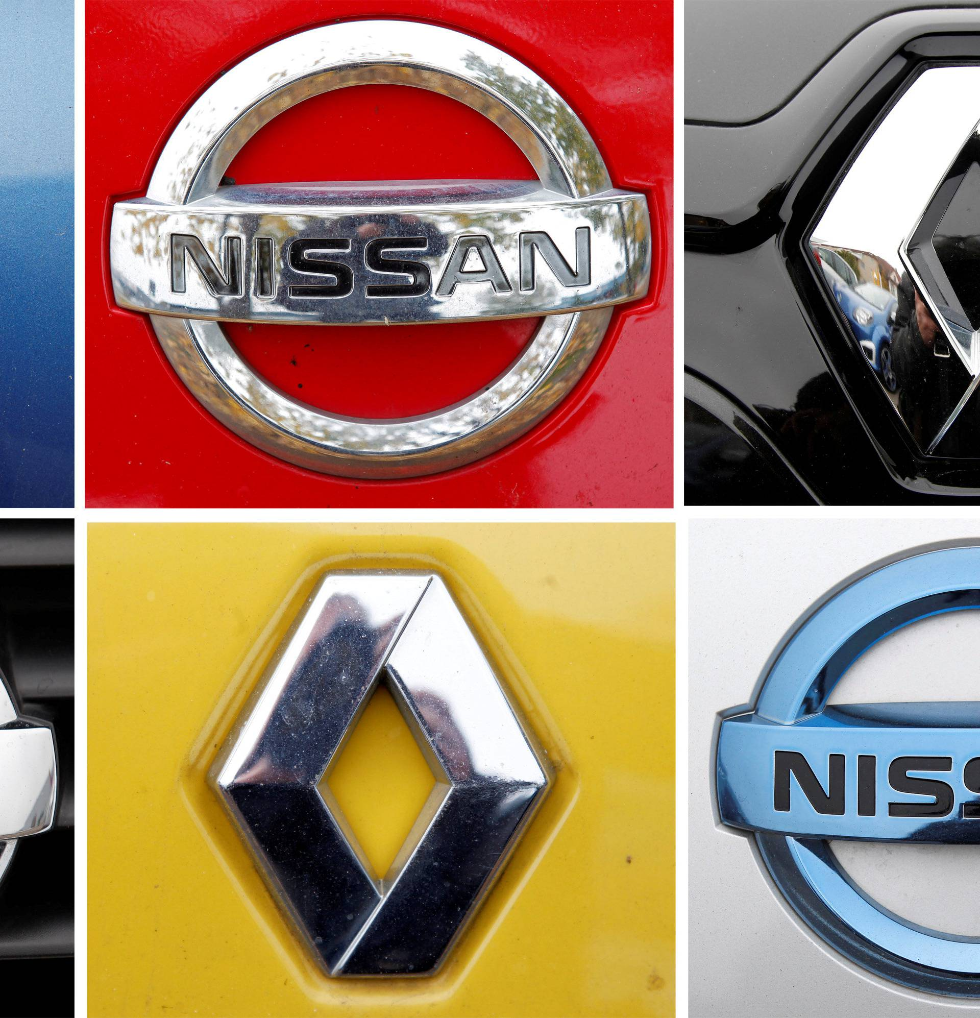 FILE PHOTO: A combination picture shows logos of Japan's Nissan and France's Renault on cars in Strasbourg