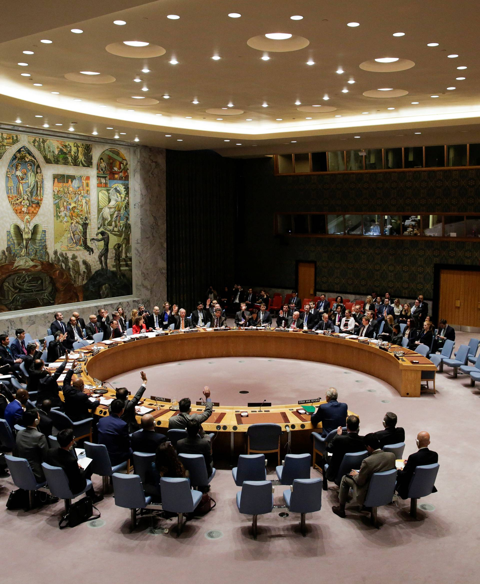 Members of the United Nations Security Council vote for ceasefire to Syrian bombing in eastern Ghouta, at the United Nations headquarters in New York