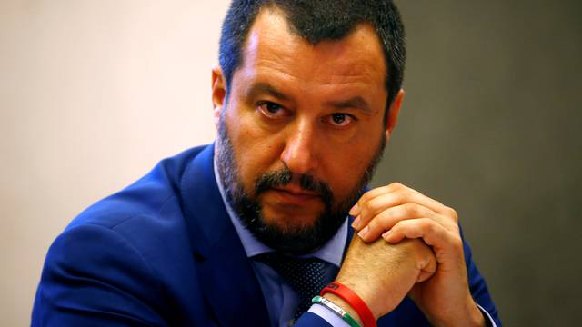 FILE PHOTO: FILE PHOTO: Italy's Interior Minister Matteo Salvini looks on during news conference