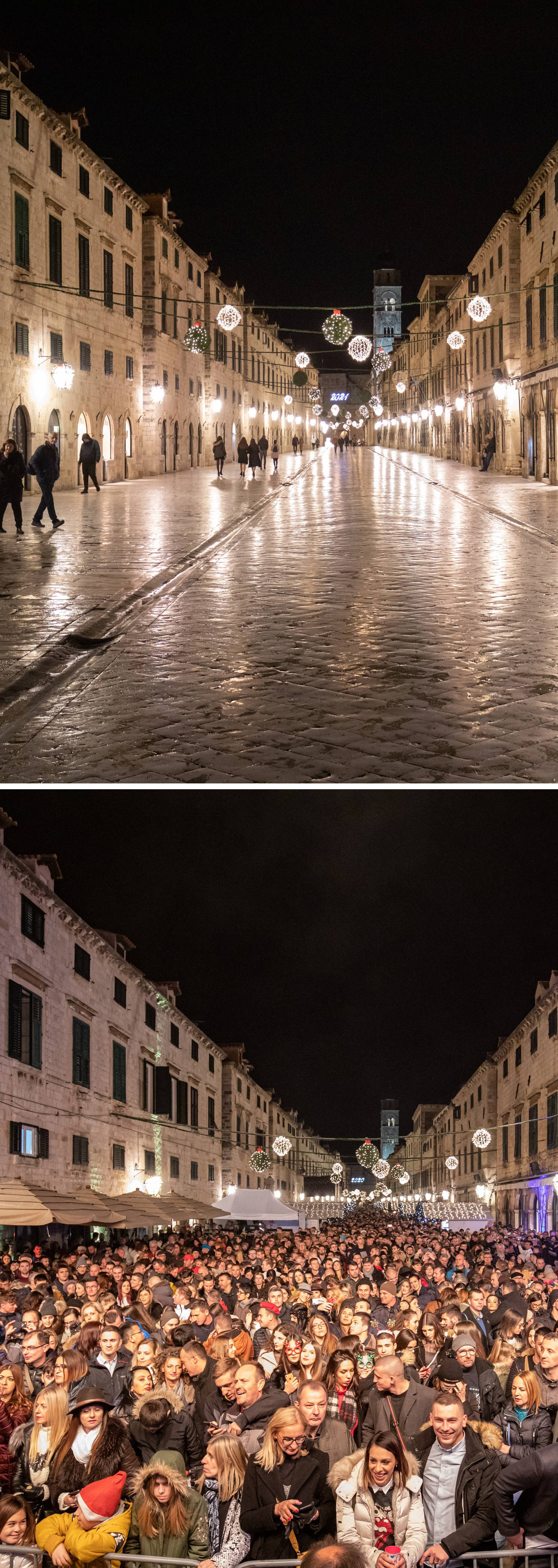 Kombo fotografije dočeka Nove 2020. i 2021. u Dubrovniku