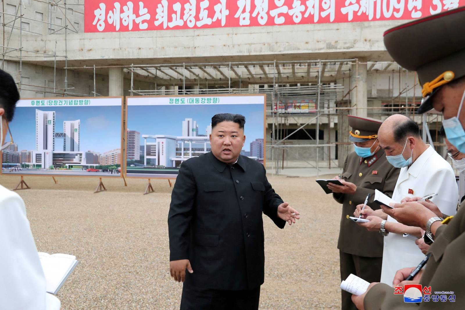 North Korean leader Kim Jong Un gives field guidance to the Pyongyang General Hospital under construction