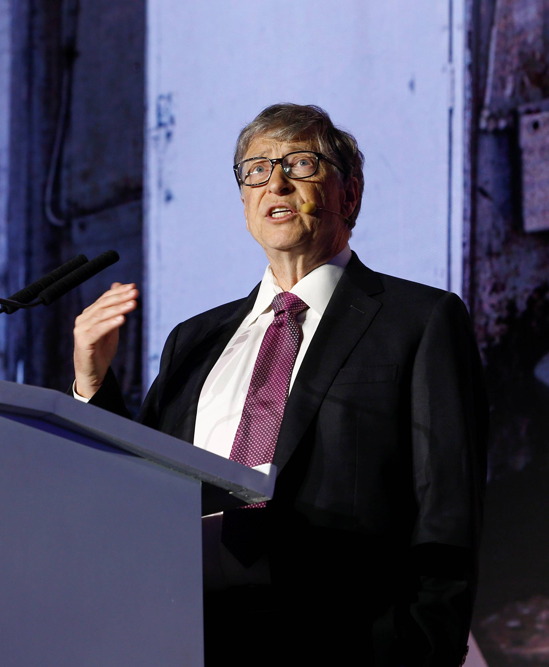 Microsoft founder Bill Gates speaks during the opening ceremony of the Reinvented Toilet Expo showcasing sewerless sanitation technology in Beijing