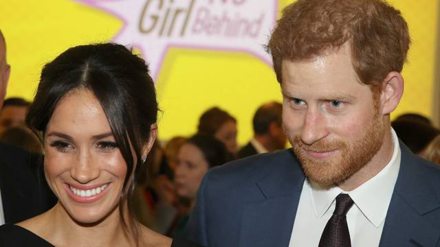 Meghan Markle and Prince Harry attend the Women's Empowerment reception hosted by Foreign Secretary Boris Johnson during the Commonwealth Heads of Government Meeting at the Royal Aeronautical Society