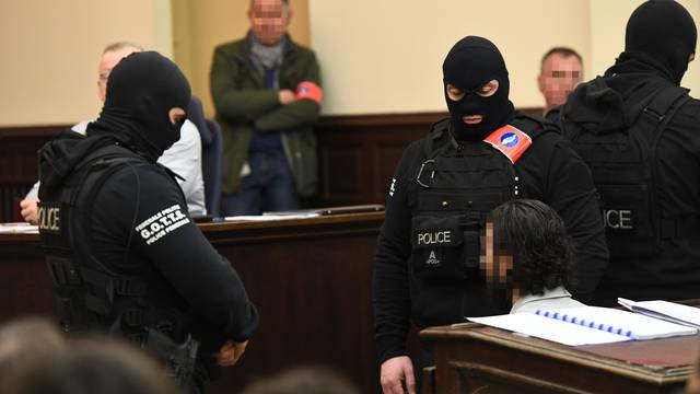 Salah Abdeslam, one of the suspects in the 2015 Islamic State attacks in Paris, appears in court during his trial in Brussels