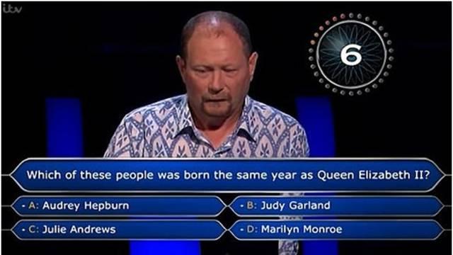 Tko je rođen iste godine kao Elizabeta II.? Natjecatelj kviza odustao je zbog toga pitanja