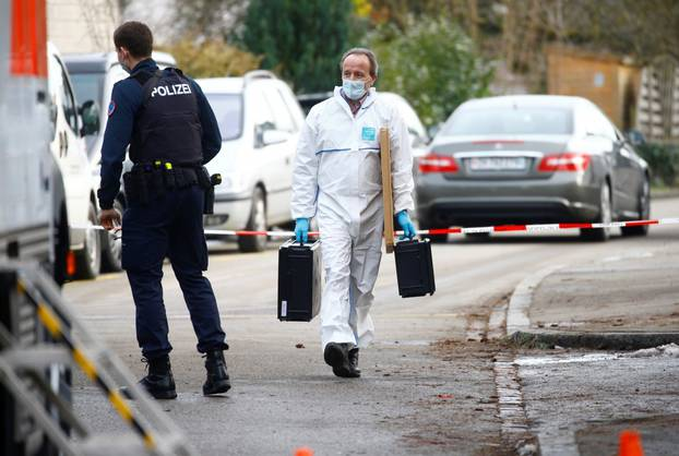 Swiss police work at crime scene in Winterthur