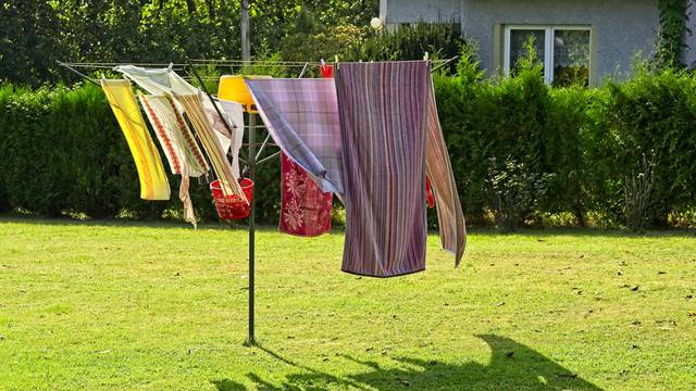 Home loundry dyring in garden