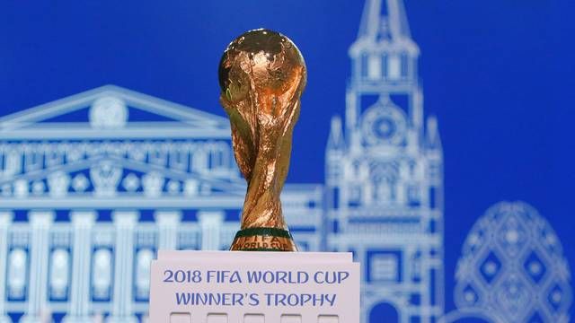 The 2018 FIFA World Cup Winner's Trophy is on display before the 68th FIFA Congress in Moscow