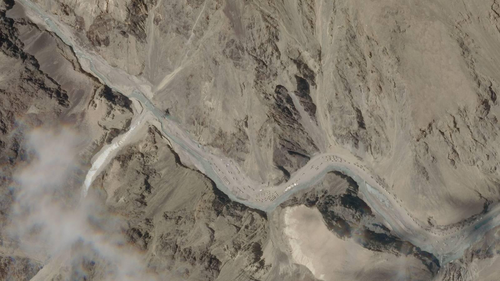 A satellite image taken over Galwan Valley in Ladakh