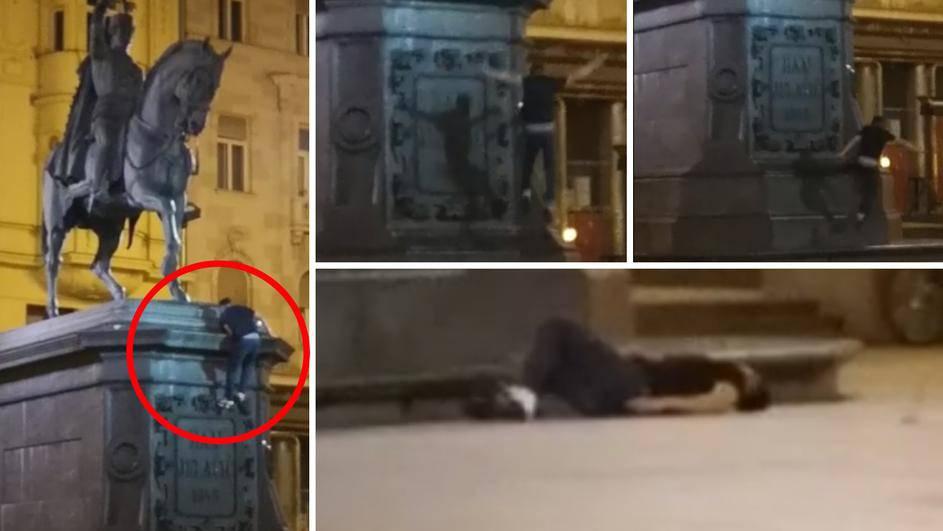 Mladić koji je pao s kipa bana Jelačića nije teže ozlijeđen