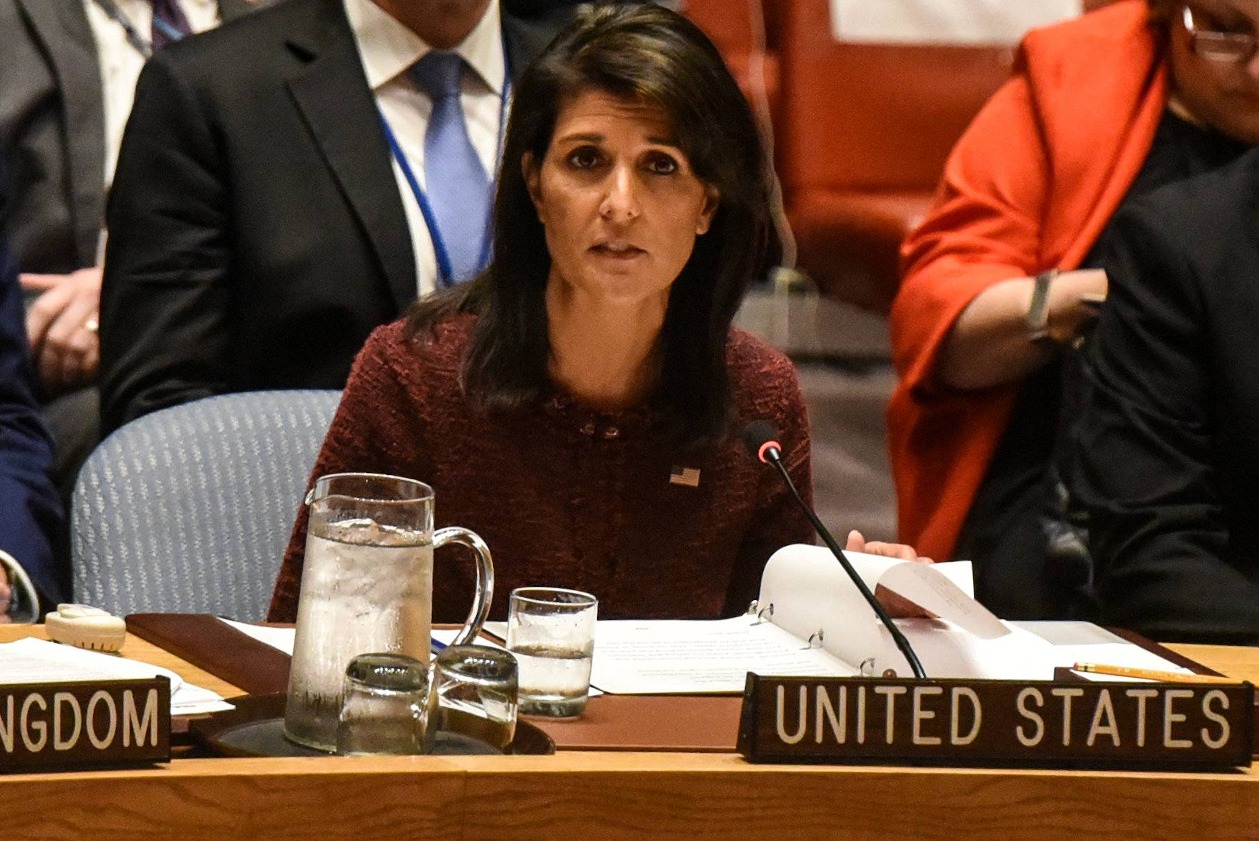 U.S. Ambassador to the United Nations Nikki Haley delivers remarks at a security council meeting at U.N. headquarters during the United Nations General Assembly in New York City
