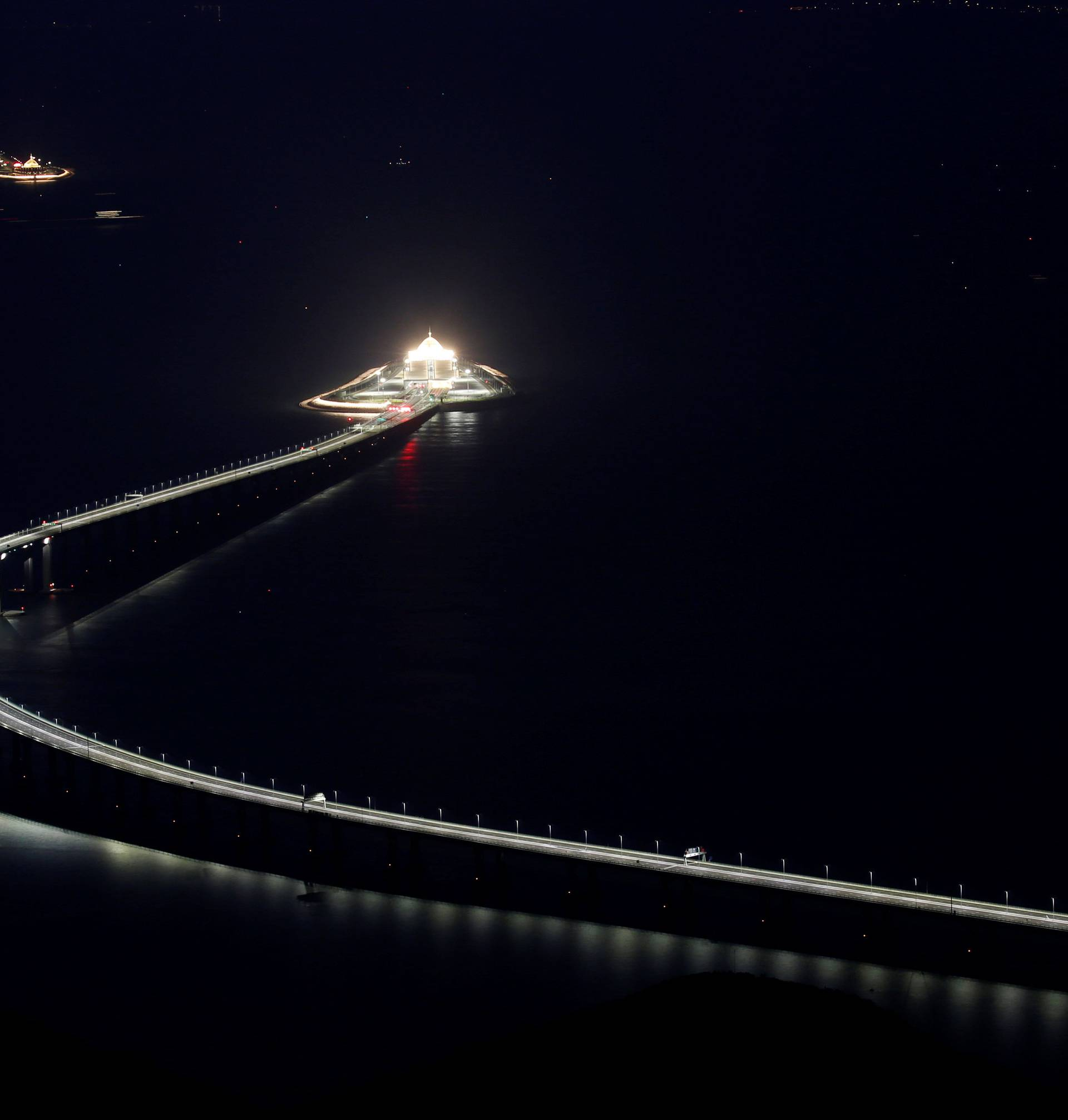 A evening view of the Hong Kong-Zhuhai-Macau bridge off Lantau island in Hong Kong