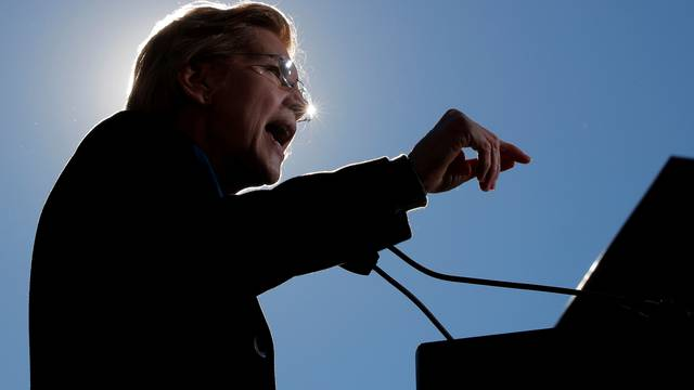 U.S. Senator Elizabeth Warren speaks at a rally to launch her campaign for the 2020 Democratic presidential nomination in Lawrence