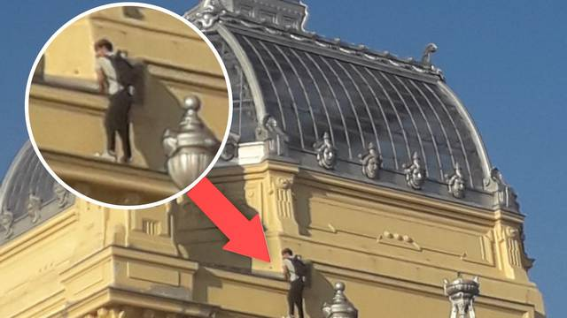 Suludo, glupo i opasno! Penjao se po Umjetničkom paviljonu u Zagrebu; Policija: 'Istražujemo'
