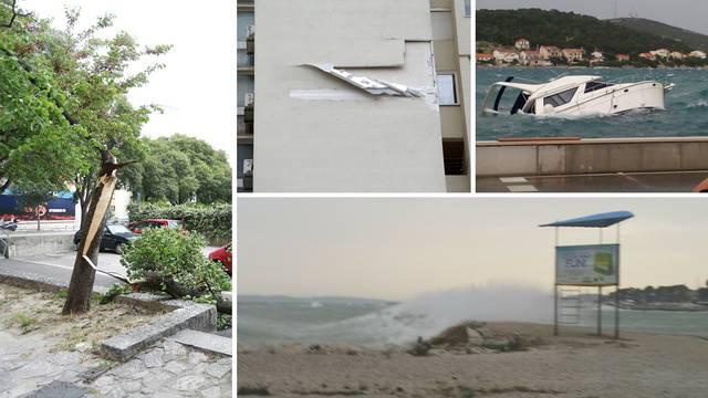 Olujno jugo u Dalmaciji: 'Čupa' fasade i stabla, potapa jahte...
