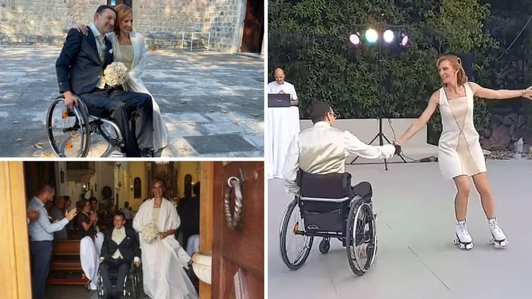 U brak uplesali na kotačima, on u kolicima, ona na rolama: 'Naš ples smo vježbali od travnja'