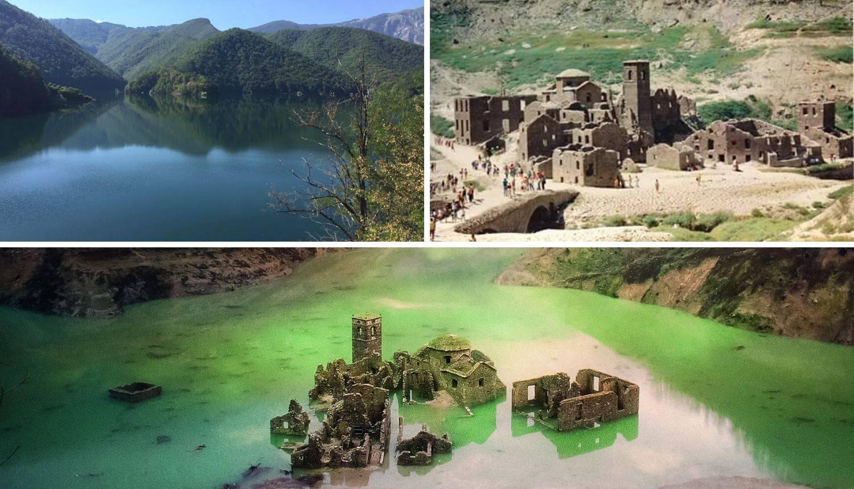 Potopljeno talijansko selo je mamac za turiste kada umjetno jezero ponekad, rijetko isuše