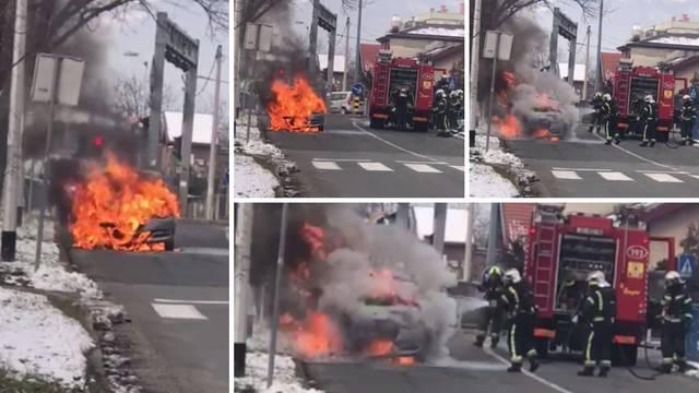 Video: Zapalio se auto u vožnji na zagrebačkim Srednjacima
