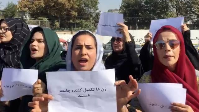 Women protest outside the Arg Presidential Office in Kabul