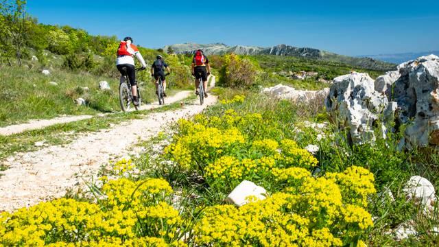 Three,Mountain,Biker,Driving,On,Gravel,Road,In,Istria,Near