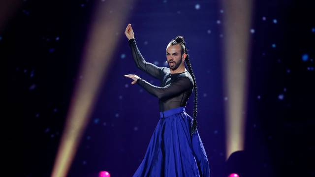 """Montenegro's Slavko Kalezic performs with the song """"Space"""" during the Eurovision Song Contest 2017 Semi-Final 1 Dress rehearsal 1 at the International Exhibition Centre in Kiev"""
