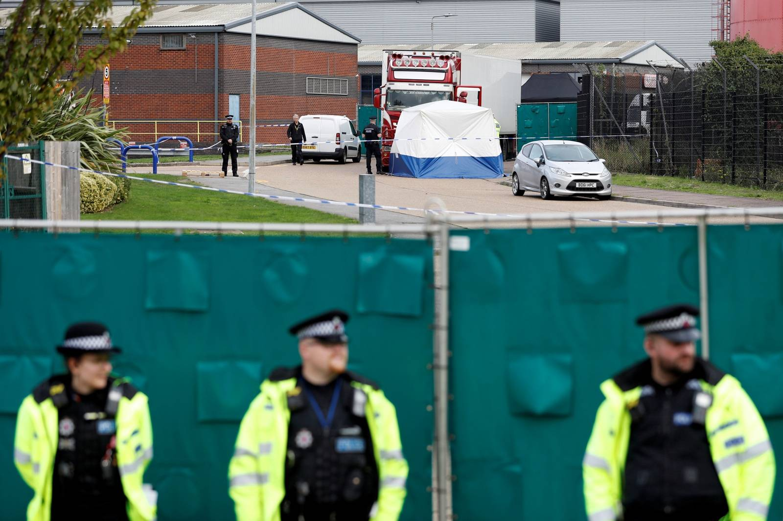 The scene where bodies were discovered in a lorry container, in Grays, Essex