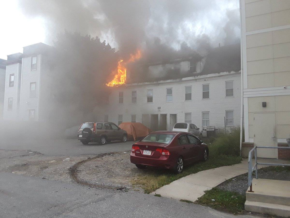 Photo from social media by Boston Sparks shows a building burning after explosions in Lawrence, Massachusetts