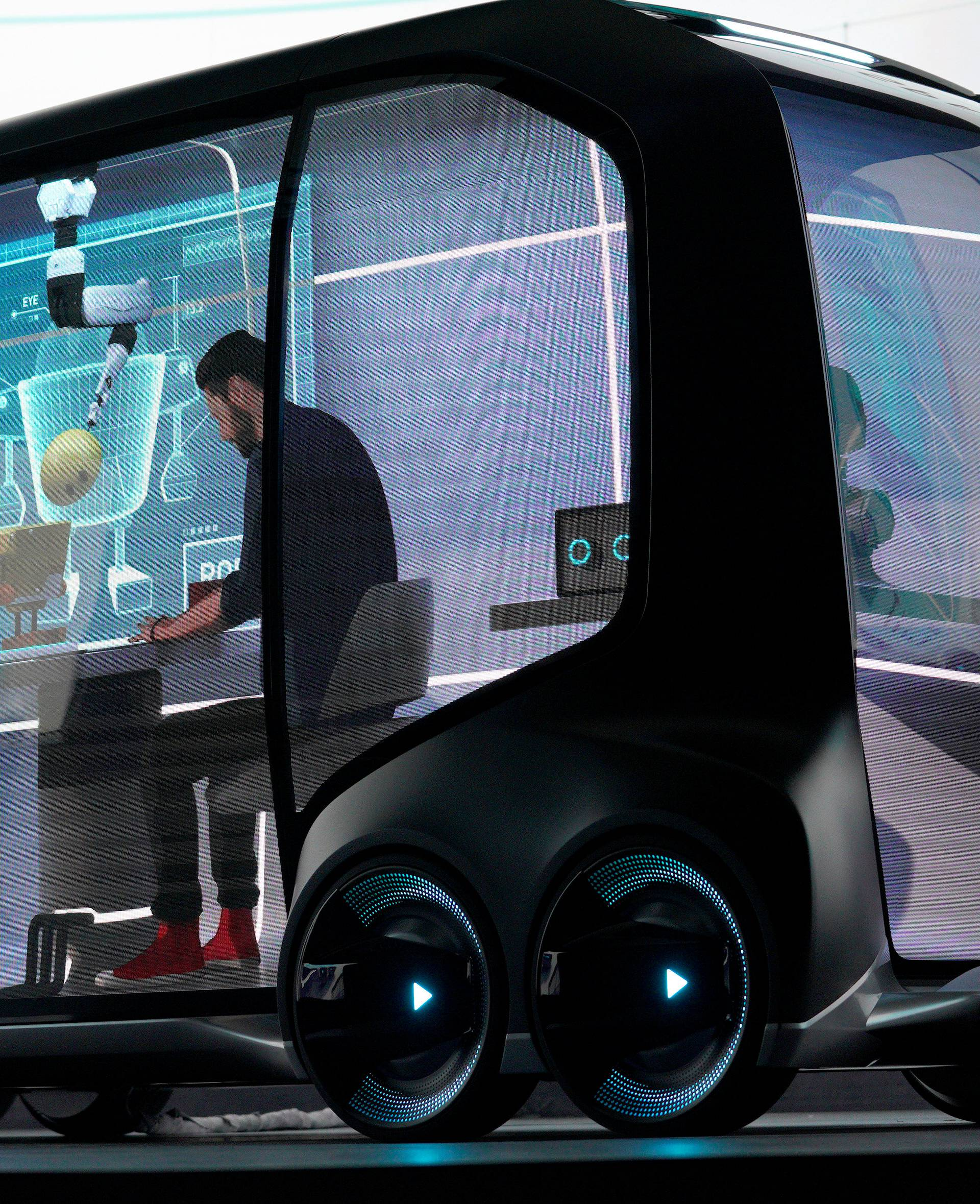 """Toyota Motor Corporation, displays the """"e-Pallete"""", a new fully self-driving electric concept vehicle designed to be used for ride hailing, parcel delivery services and other uses at CES in Las Vegas"""