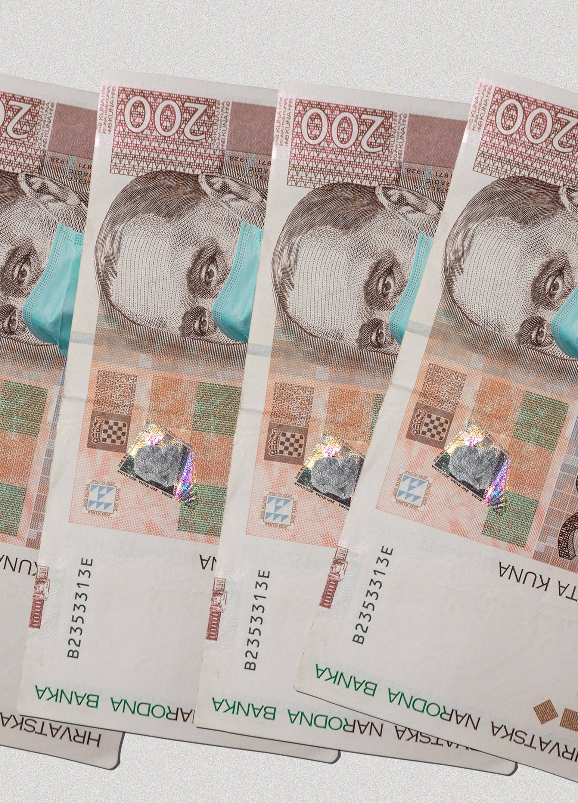 Hrvatske novčanice s medicinskim maskama