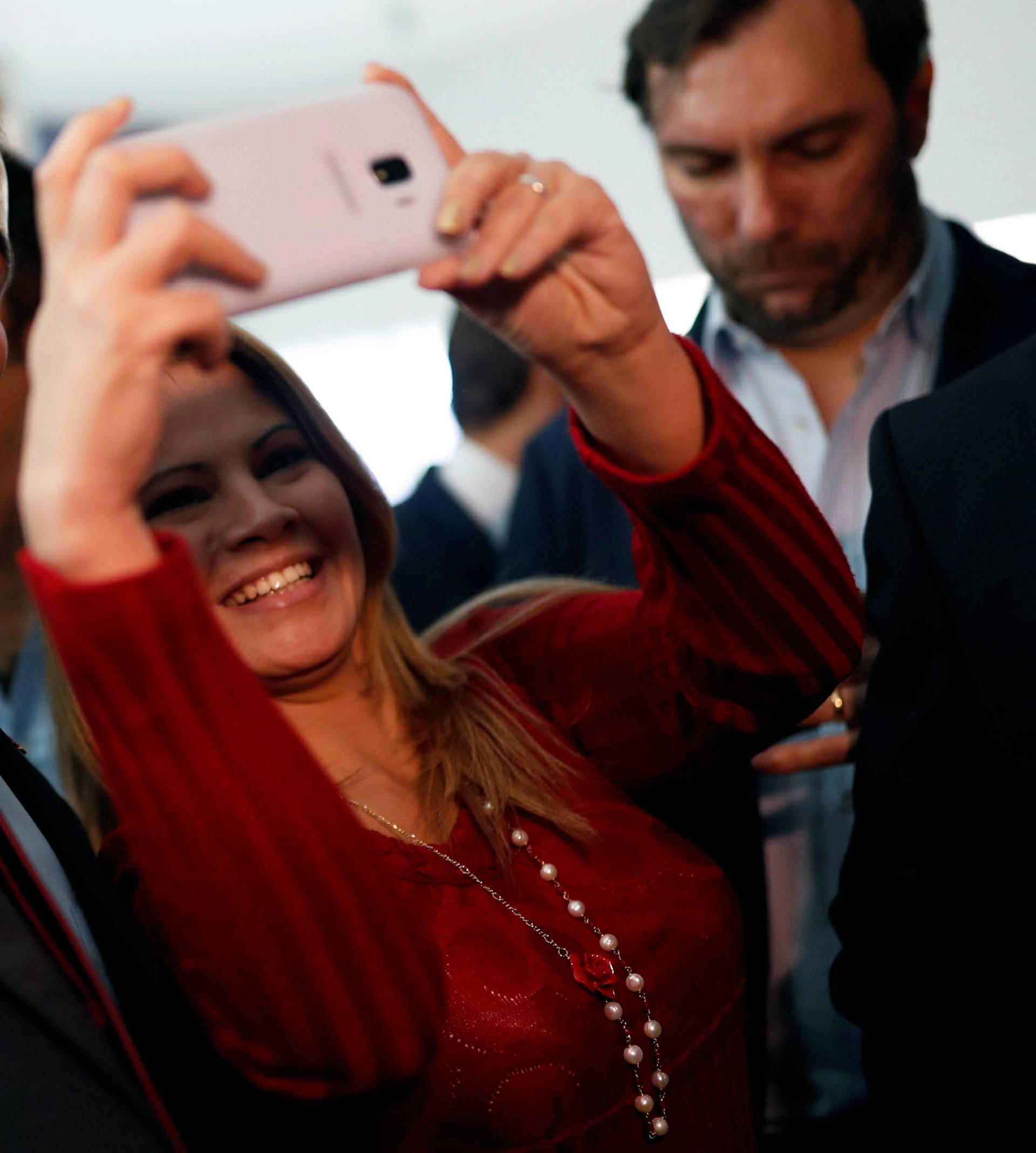 Venezuelan opposition leader Juan Guaido attends a meeting with representatives of FEDEAGRO in Caracas