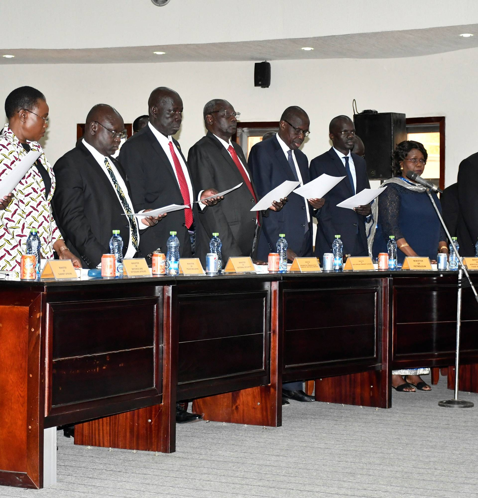 South Sudan's newly appointed Ministers attend their swearing-in ceremony in Juba