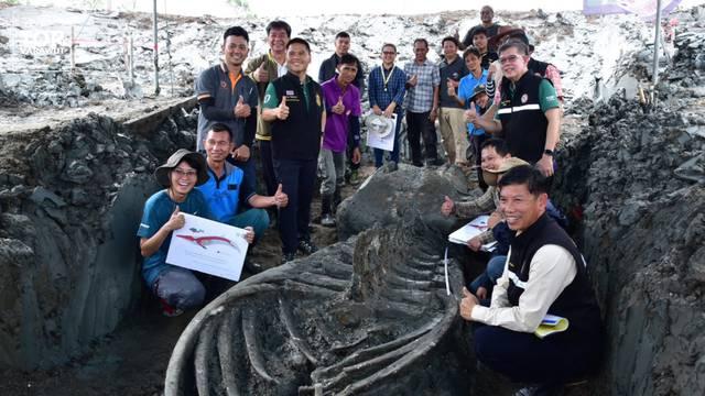 Slika tajlandskih istraživača koji su otkrili kostur Brydeova kita