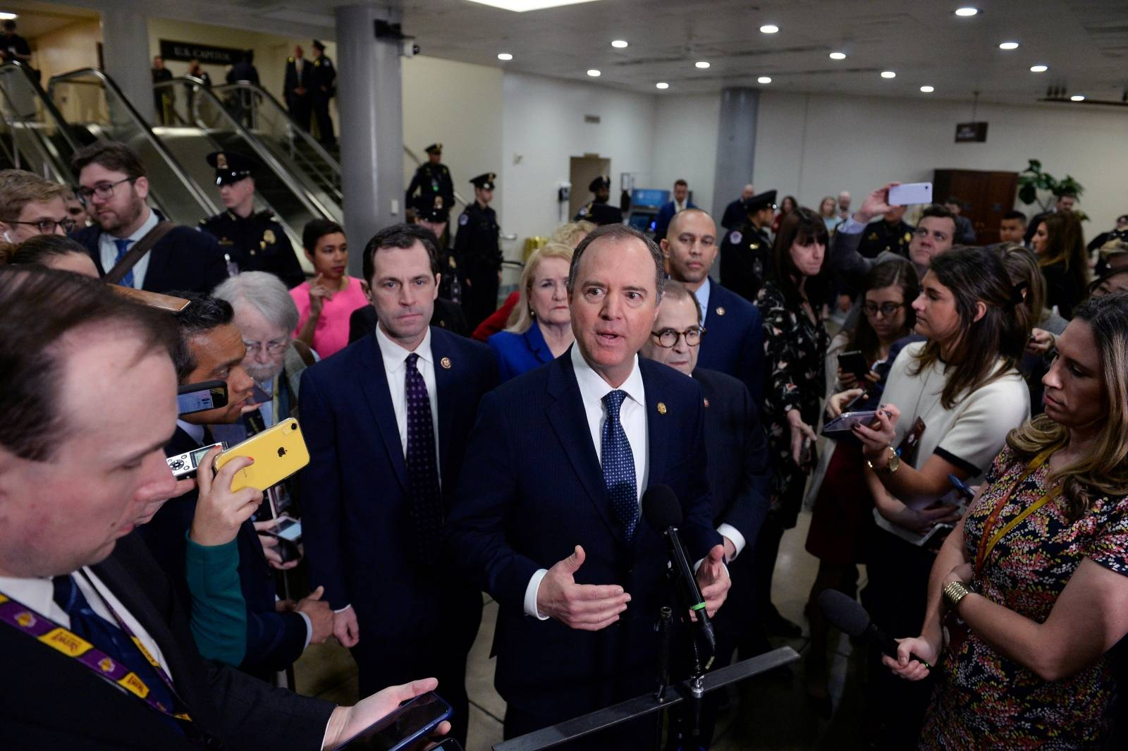 House Managers Rep. Adam Schiff (D-CA) speaks next to Rep. Jerry Nadler (D-NY) during a news conference near the Senate Subway to discuss the Senate impeachment trial of President Trump in Washington