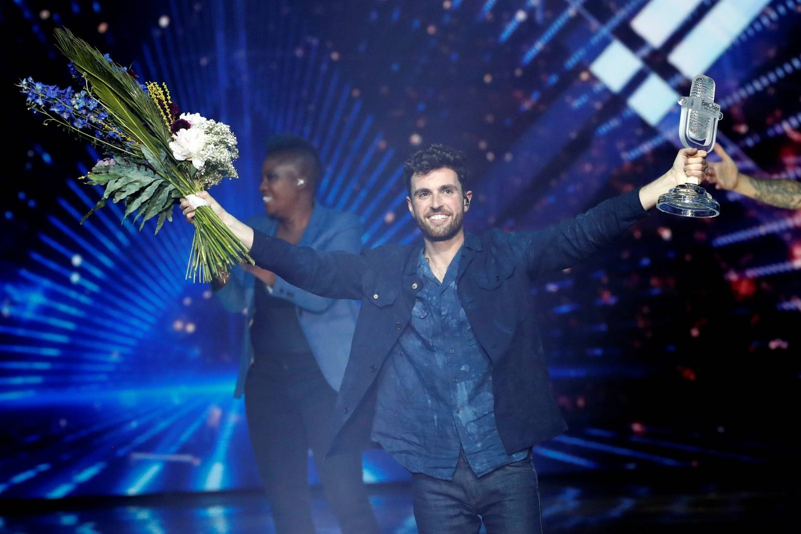Duncan Laurence of the Netherlands reacts after winning the 2019 Eurovision Song Contest in Tel Aviv, Israel