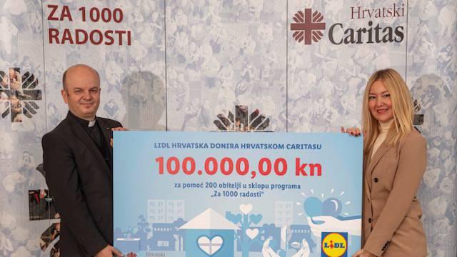 Lidl je donirao 100.000 kuna Caritasu u Hrvatskoj: Ova će donacija pomoći 200 obitelji