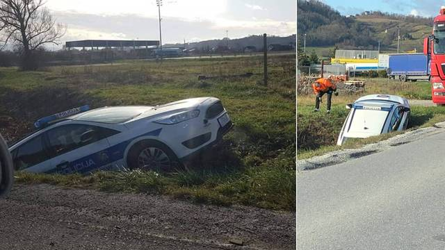 Policijski automobil 'parkirao' u jarak: 'Dobro su se sakrili'