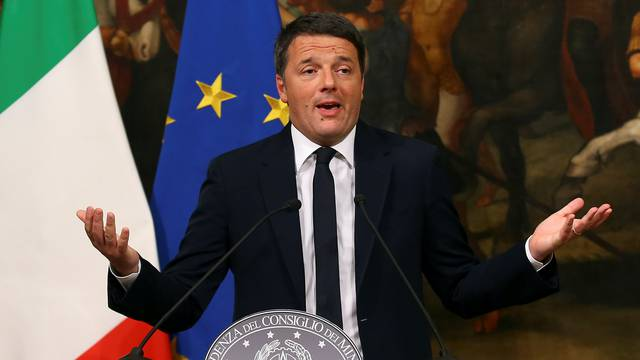 Italian Prime Minister Matteo Renzi speaks during a media conference after a referendum on constitutional reform at Chigi palace in Rome