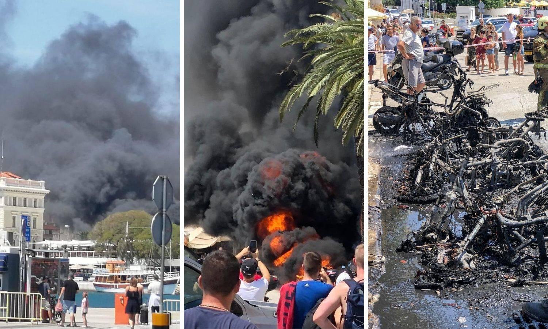 Drama na splitskoj rivi: Ljudi su micali goreće motore i opekli se