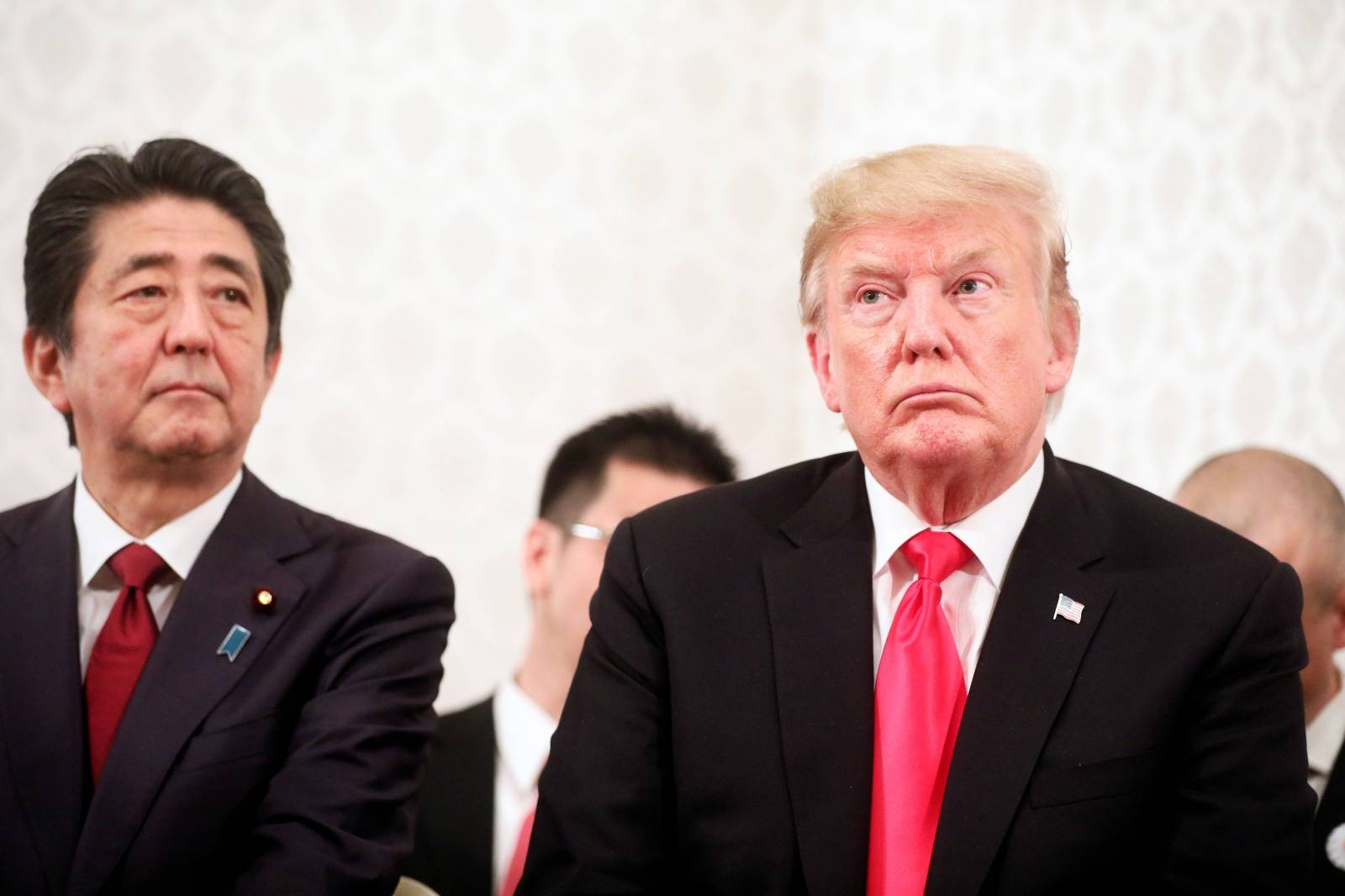 U.S. President Donald Trump and Japan's Prime Minister Shinzo Abe meet with family members of people abducted by North Korea, in Tokyo