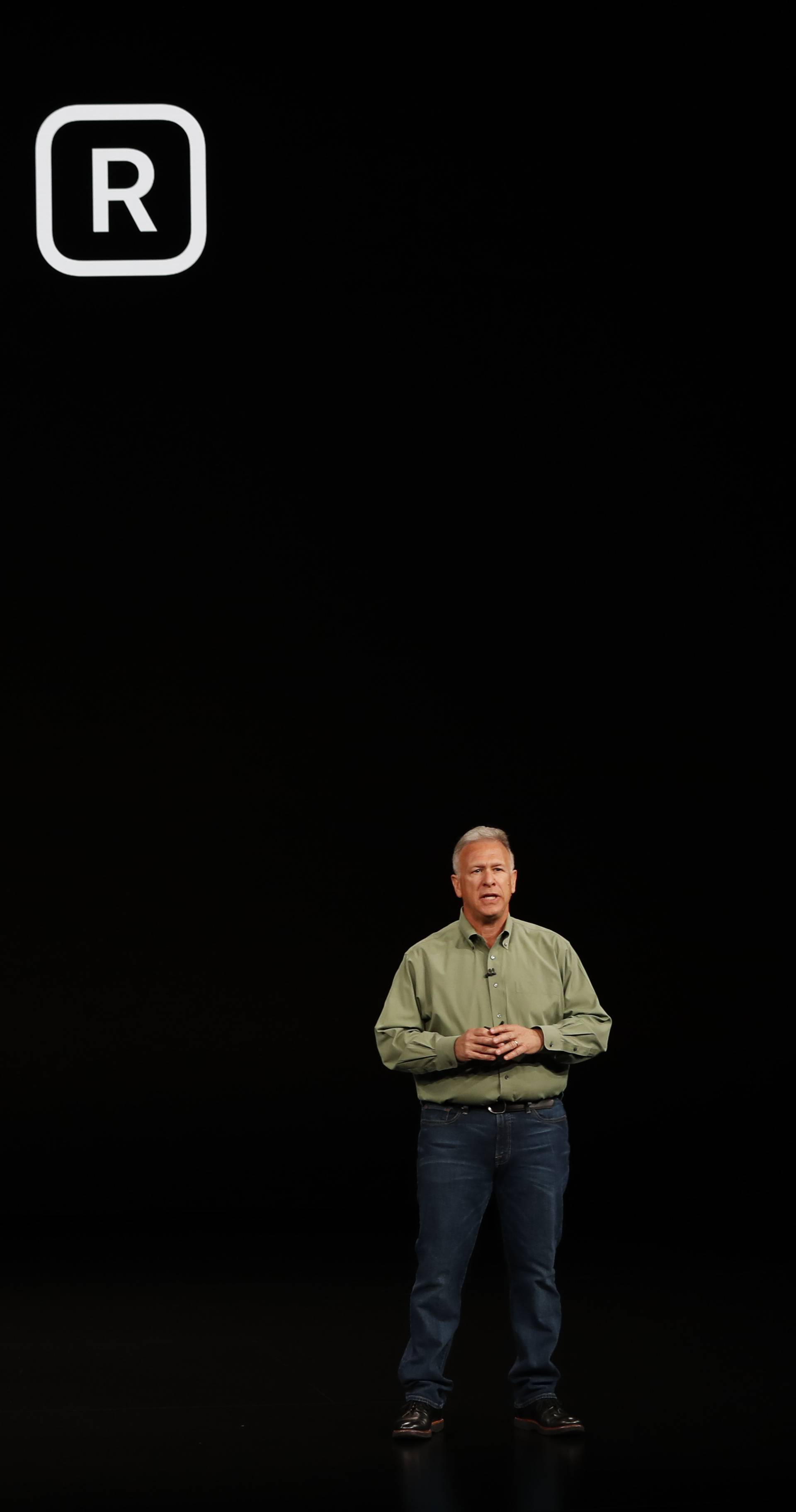 Schiller Senior Vice President, Worldwide Marketing of Apple, speaks about the the new Apple iPhone XR at an Apple Inc product launch in Cupertino