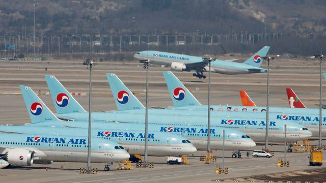 FILE PHOTO: Korean Air passenger planes are parked at Incheon International Airport