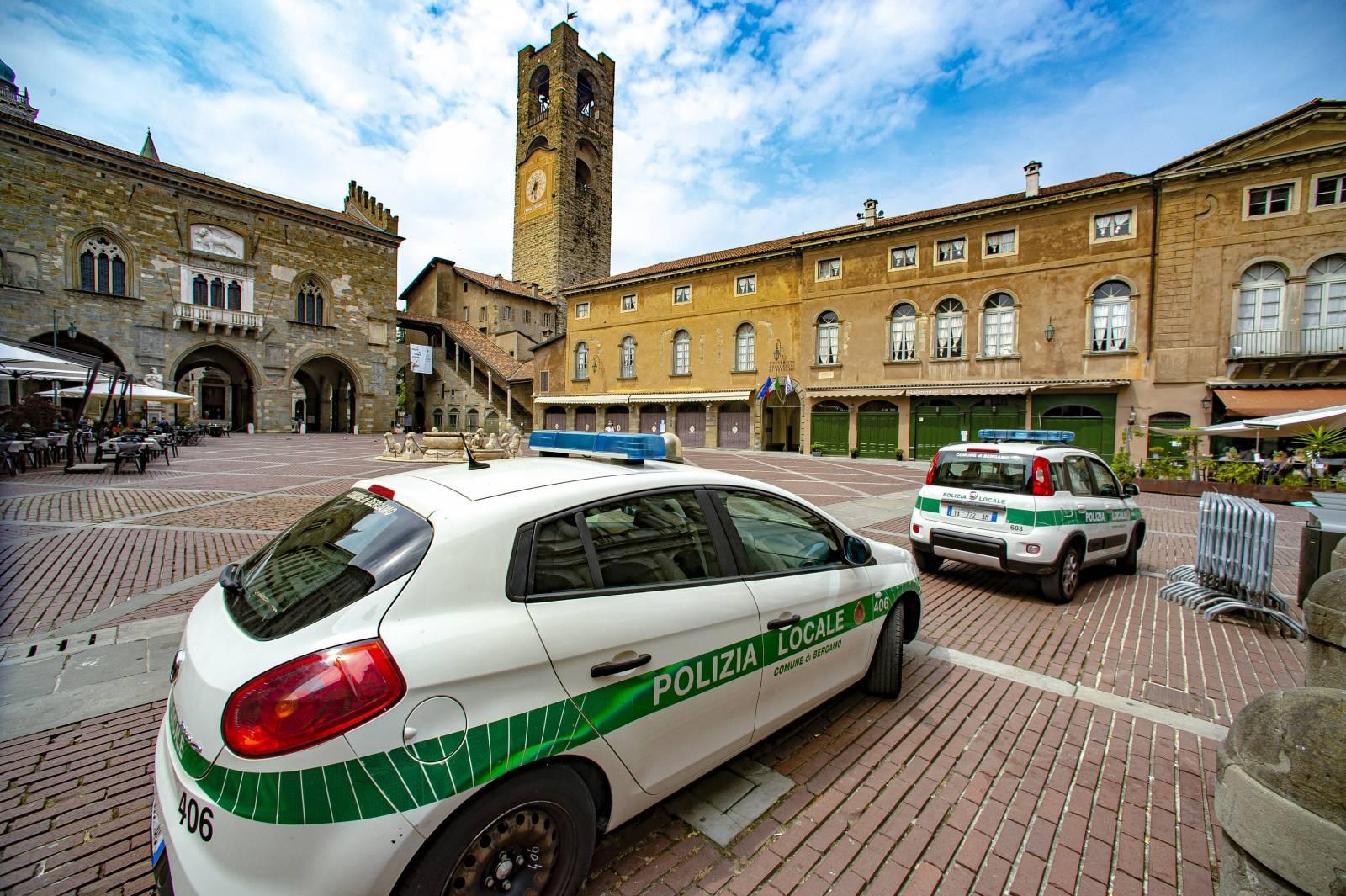 Police controls in Bergamo, Italy