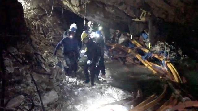 Rescue personnel work at the Tham Luang cave complex in the northern province of Chiang Rai