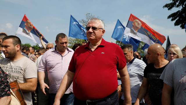 Serbian Radical Party protest in the village of Jarak