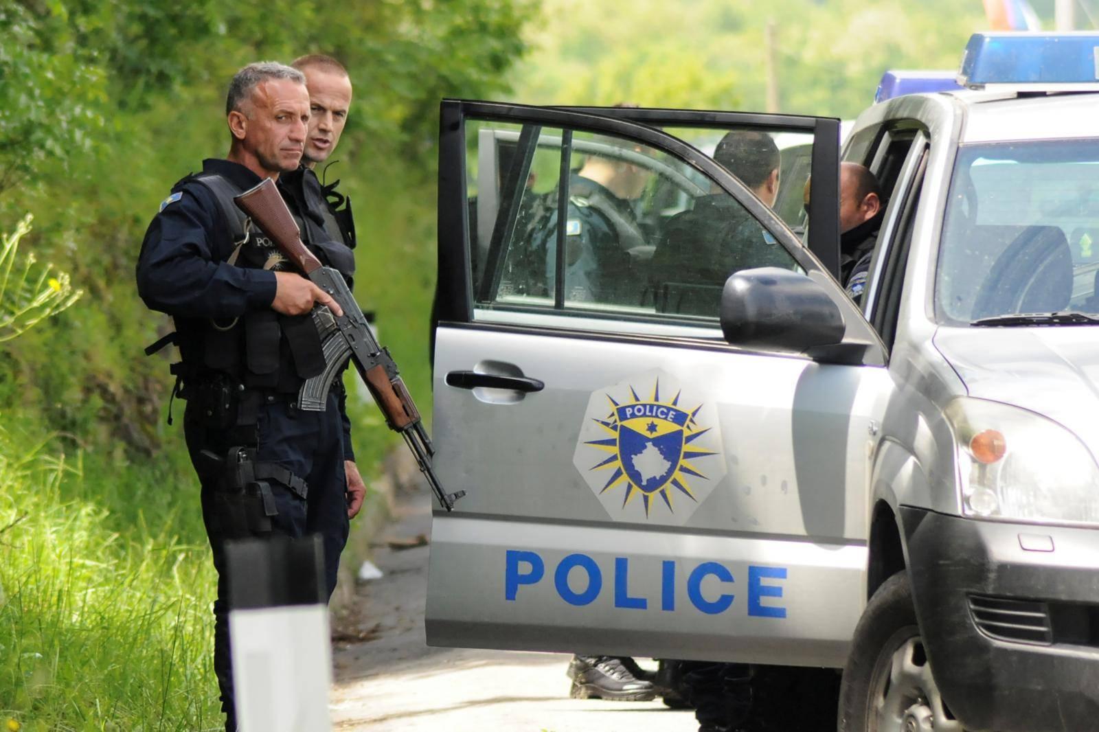 Kosovo police secure the area near of Zubin Potok