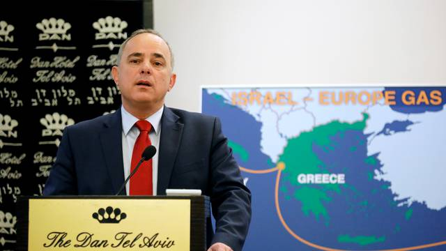 Israel's Energy minister Yuval Steinitz speaks during a news conference with his European counterparts, in Tel Aviv