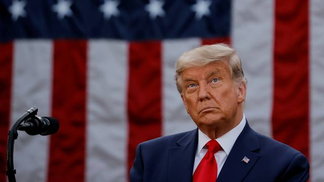 FILE PHOTO: U.S. President Trump delivers update on so-called Operation Warp Speed coronavirus treatment program in an address from the Rose Garden at the White House in Washington