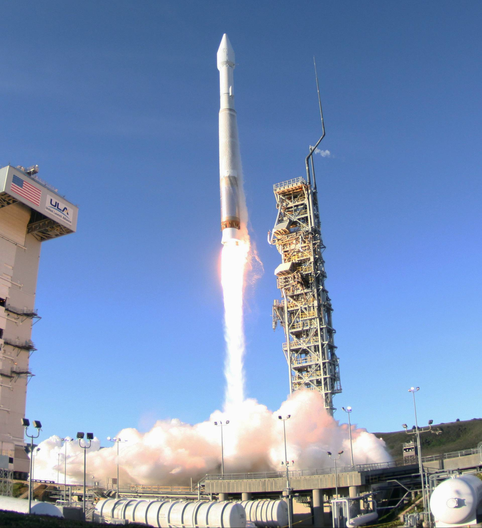 FILE PHOTO: An Atlas 5 ULA (United Launch Alliance) rocket carrying a satellite for the Defense Meteorological Satellite Program is launched from Vandenberg Air Force Base in California