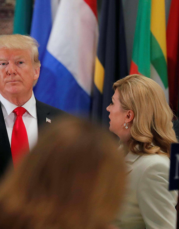 U.S. President Trump talks with Croatia's President Grabar-Kitarovic during working luncheon at U.N. headquarters in New York