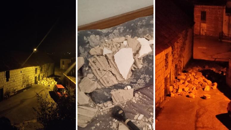 Ovo su prve snimke posljedica potresa. Srušen dio kuće kraj Dugopolja: 'Sve još podrhtava'